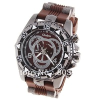Sample Fashion Oulm Men's Watch with Numbers and Strips Hour Marks Round Dial Brown Silicon Band Quartz Wrist watch