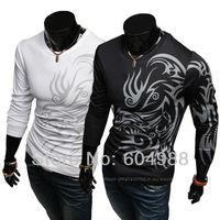 New Arrive Men's long sleeve T-shirt cotton o-neck T-shirt fashion dragon tattoo design T-shirt M-XXL