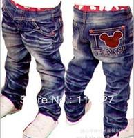 New style children's cowboy pants Children boy cute cartoon images jeans, Children's jeans ,5pcs/lot