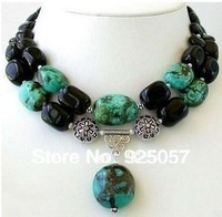 The great Tibet Silver Turquoise Black jade Necklace Fashion jewelry