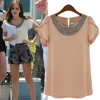 2014 summer fashion European style woman blouses bead chiffon t-shirt for women plus size xl t shirt pink white tops t-shirts