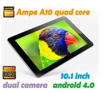 "In Stock Ampe A10 10.1"" Quad Core 1.6GHz IPS 1280x800 tablet pc 2G+16G Android 4.1 Dual Camera HDMI bluetooth"