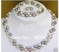 AAA 2 rows Black White pearl necklace bracelet earringsFashion jewelry