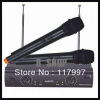 2 Channels Dual VHF Wireless Mic Dj Karaoke Microphone 2x Mic System