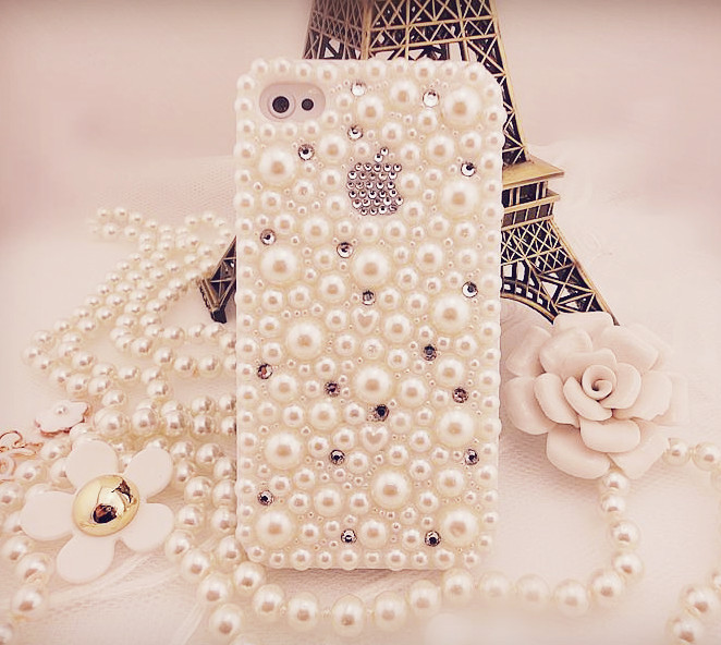 Handmade case for iphone5 protective case shell pearl rhinestone mobile phone case(China (Mainland))