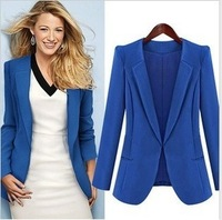 2013 autumn fall brand fashion design woman blazers OL jacket for woman outwear tops plus size s m l xl black blue