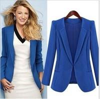 2014 autumn fall brand fashion design woman blazers OL jacket for woman outwear tops plus size s m l xl black blue