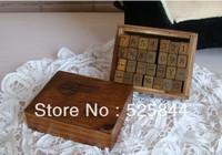 Freeshipping! 28pcs/set/ Letter&Number&week&Weather Wood stamp Set/DIY funny/Wooden Box/