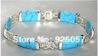 "Jewellery turquoise jade Tibet Silver Bracelet 7.5"" Fashion jewelry"