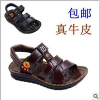 Freeshipping 2013 expert skills child sandals genuine kid leather sandals big boy shoes summer sandals