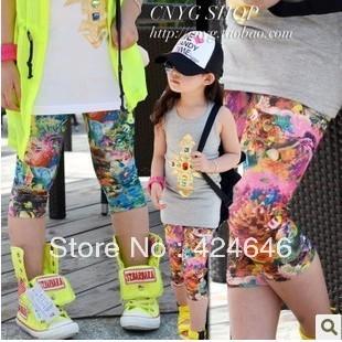 Free shipping 5pcs baby leggings graffiti underwater world girls leggings Girls HOT Pants  Girl's clothing