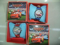 Free Shipping Wholesales NEW Cartoon pixar Cars 3D Children Watch 5pcs&gift box Good Gift kids watchlady