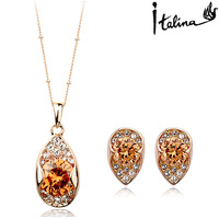 PDRS-YG127,Crystal Zircon Earrings Necklace Jewelry set ,Nickel Free ,Wholesale Factory Direct ,Made with Austrian Crystal