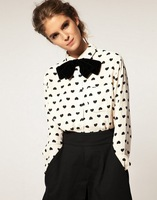 Hot Selling 2013 New Style Heart Print Long Sleeve Shirt Women Blouse 419