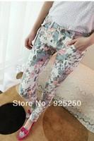 women autumn winter fashion 2014 pencil pant skinny floral print Skinny pencil  pant  full print slim  trouser