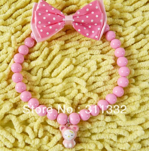 Fashion Lovely Pink Bow Candy Beads Pet Dog Cat Necklace Collars 30cm Long Pet Supplies Wholesales(China (Mainland))