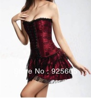 Free P&P Women Corsets,Wholesale Corset+G String Set,Sexy Shaper for women,Push Up Boned Stripe Bowknots Bustier no skirt 2163