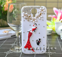 red girl and black cat bling crystal  rhinestone white protective case for Samsung Galaxy s3 i9300 s4 i9500 [JCZL DIY Shop]