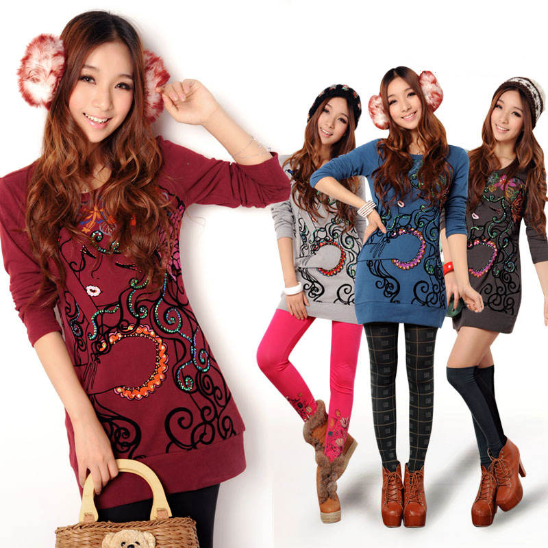 Fashion cartoon 2013 slim medium-long thickening fleece basic T-shirt Women 36539(China (Mainland))