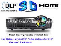 Top light 4500lumens XGA portable Full HD short throw dlp projector,120HZ real dlp link shutter 3D projector,free shipping