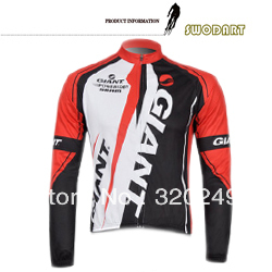 Free shipping fast dry polyester and lycra GIANT man long sleeve cycling jersey with invisible pocket,two color choose(China (Mainland))