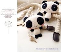 10PCS Super Kawaii Panda Stuffed TOY; 9*8CM DOLL; Mobile Cell Phone Strap Pendant Charm Lanyard Chain; Key Chain BAG Charm TOY