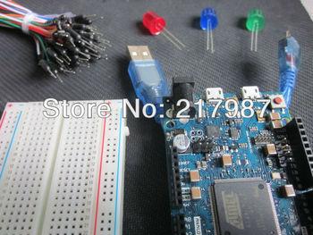 For Arduino Due 2012 R3 ARM Version AT91SAM3X8EA ATSAM3X8EA-AU+1 usb cable+3 LED +1 Bread board+bread board cable