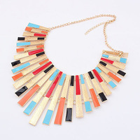 Min.order is $10 (mix order) 5 colors Europe exaggerated vintaged colorful tassel necklace wholesale Free shipping! N1071