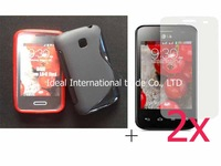 new black silicone s line gel tpu case+2X clear screen protector lcd film For LG Optimus L3 II Dual E435