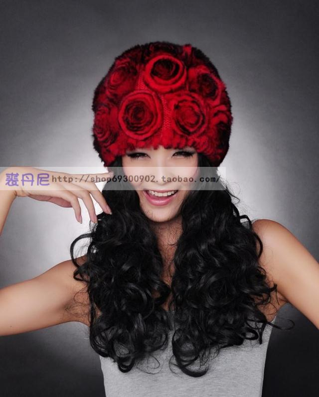free shipping 2012 autumn and winter rose Women fur hat rex rabbit hair thickening woven bag(China (Mainland))