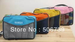 Free shipping 30pcs/lot FashionTravel&amp;Check Travel Tote Bag(S Size 27*18cm), 4 colors available,made with Nylon+Mesh,(China (Mainland))