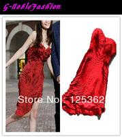 Slim Fit Hostess Red Strapless Prom Dress Asymmetrical Short Evening Dress