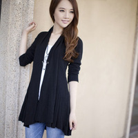 2012 autumn long cardigan sweater design shoulder width sweater outerwear