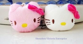 HOT SALE 40PCS Plush Stuffed TOY, Mini 4CM Hello Kitty ;  Mobile Cell Phone Strap Pendant Charm Strap Lanyard Key Chain