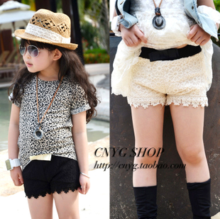 Cool summer 2013 children&#39;s clothing female child woven lace bow shorts child shorts super shorts(China (Mainland))