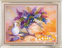 Ribbon embroidery crafts home decoration living room painting 3D Cross Stitch Kit Purple Manding fragrance free shipping