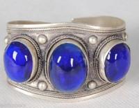 wholesale Cheap bracelets > Rarely men Antique Fashion jewelry Fancy Exquisite Tibet Silver Blue Jade Cuff Bracelet