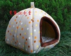 FREE shipping luxury brand portable pet product supplies dog cat house kennel cage puppy warm bed home high quality tent(China (Mainland))