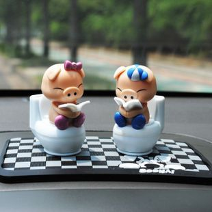 Mini toilet shote solar doll lovers bobble head doll car accessories(China (Mainland))