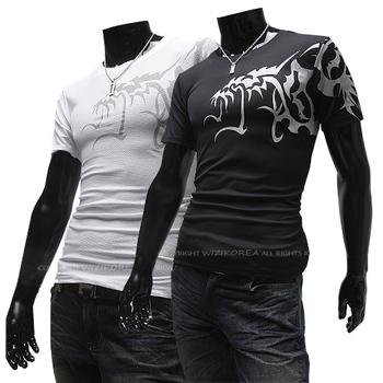 Free shipping Hot new men's T-shirt China Wind Wolf Tattoo Slim Short Sleeved T Shirt Colors Black  White Size M L XL XXL 2522