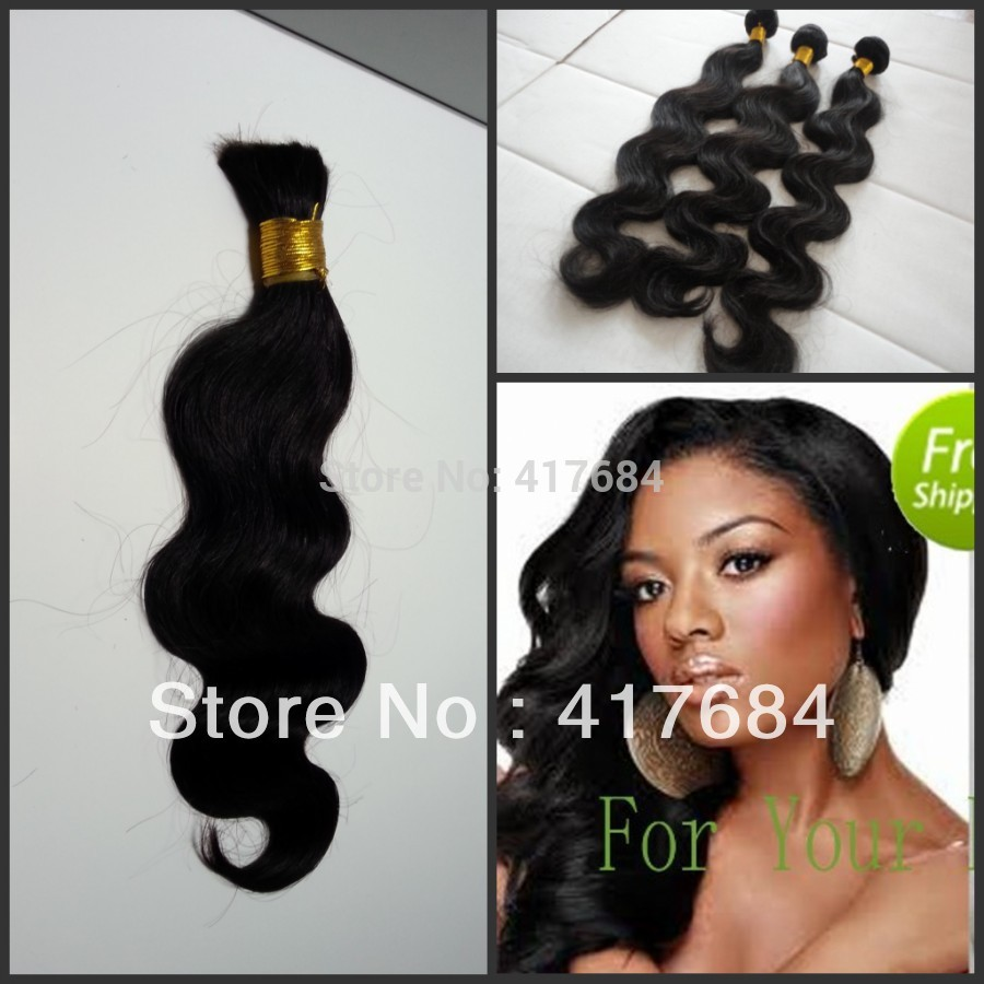 2013 new design queen hair products virgin natural black 1b no dye body wave bulk hair for braiding(China (Mainland))