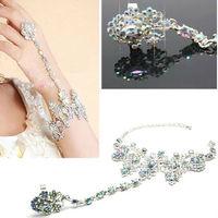 2013 Hot Sales Fashion Colorful Womens Bride Finger Handchain Rhinestone Bracelet Bangle Accessories Free Shipping