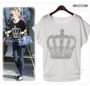Hot selling Cotton / Diamond Queen / Crown loose T-shirt A1372wholesale(China (Mainland))