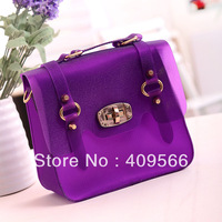 2013 jelly bag candy color summer high quality women's handbag transparent bags strap  fashion messenger bag tote free shipping