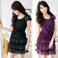 Layered dress mm summer beading elegant slim plus size chiffon one-piece dress