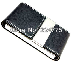 Free Shipping Men's Brown/Black Magnetic Stainless Steel Office Business Name Credit ID Card Case Holder Wallet Box(China (Mainland))
