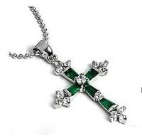 Jewellery Silver Green jade Crystal Cross Pendant / Free Shiping