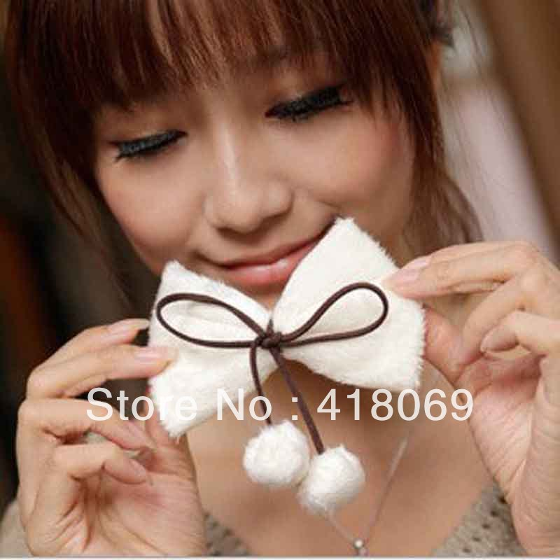 vivi furry cherry texture bow lob the ball Korea hairpin spring clip hair ball hair accessories manufacturers(China (Mainland))