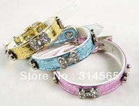 Wholesale 20Pcs/Lot  High-grade bone rhinestone pet collars dogs and cats Size M-S
