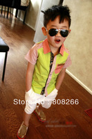 free shipping 2013 summer hot children&#39;s shirt short sleeve boys shirts age 3-9 Y